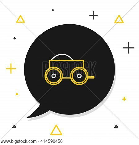 Line Wooden Four-wheel Cart With Hay Icon Isolated On White Background. Colorful Outline Concept. Ve