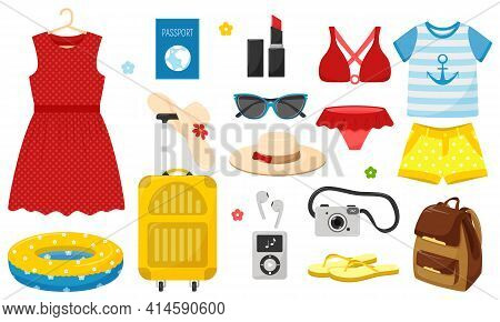 A Set Of Summer Clothes And Things For Holidays And Summer Holidays. Bright Decorative Vector Elemen