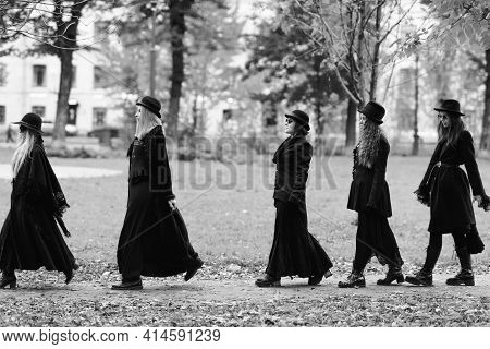 Five Women As Witches Go To The Sabbath, A Group Of Witches Or Goths