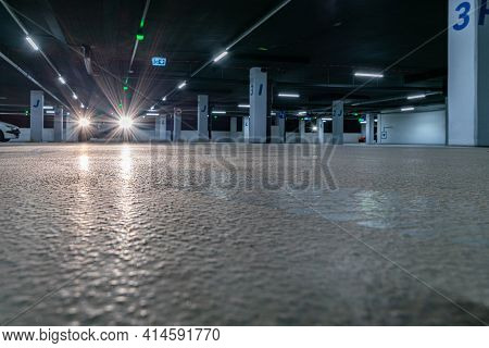Parking Space. Empty Road Asphalt Background. Car Lot Parking Space In Underground City Garage. Hidd