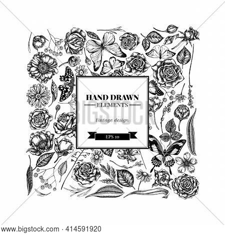 Square Floral Design With Black And White Shepherd S Purse, Heather, Iris Japonica, Sakura, Gypsophi