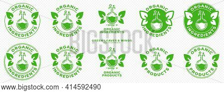Concept For Product Packaging. Labeling - Organic Ingredients And Products. Stamp With Leaf-wings -