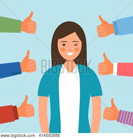 People Approval Praise Happy Woman. Female Proud Of Herself And Confident. Happiness Positive Person