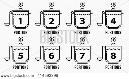 Concept For Product Packaging Or Menu. Labeling Is The Number Of Servings Per Dish. Casserole With S
