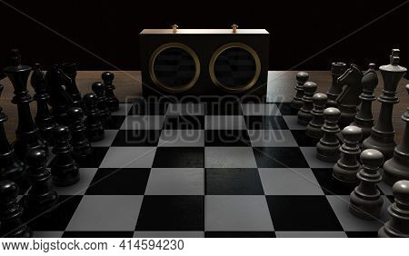 A Chess Game Setup On A Table With Opposing Chairs In A Dark Room Lit By A Single Overhead Light - 3