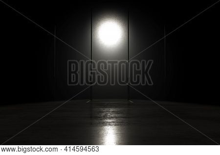 A Concept Showing Posts On A Reflective Concrete Lined Aussie Rules Field Backlit By A Single Honeyc