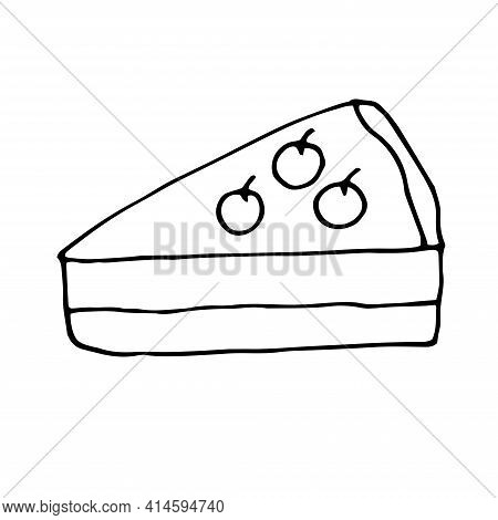 Cranberry Cheesecake Vector Doodle Illustration Hand Drawing