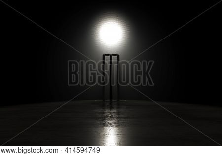 A Concept Showing Cricket Wickets On A Reflective Concrete Lined Pitch Backlit By A Single Honeycomb