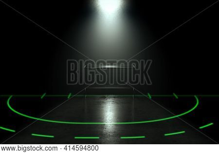 A Concept Showing A Goal On A Reflective Concrete Lawn Hockey Field With Illuminated Green Lines Bac