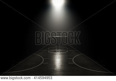 A Concept Showing A Goal On A Reflective Concrete Lined Ice Hockey Field Backlit By A Single Honeyco