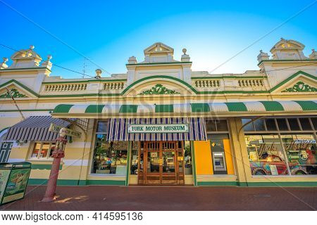 York, Australia - Dec 25, 2017: Front View Of York Motor Museum With Its Large Number Of Vintage Car