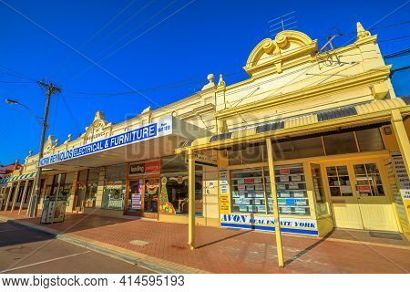 York, Australia - Dec 25, 2017: Central Buildings 1907 On Avon Terrace In York, A Popular Tourist To