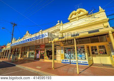 York, Australia - Dec 25, 2017: Central Buildings 1907 On Avon Terrace In York, A Popular Tourist To