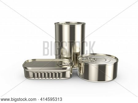 A Collection Of Various Shaped Tin Cans With A Peelable Tabbed Lid Used In The Packaging Of Fish Pro