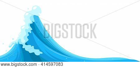 Curling Water Surge Background. Tsunami Wave In Cartoon Style. Vector Illustration In White Backgrou