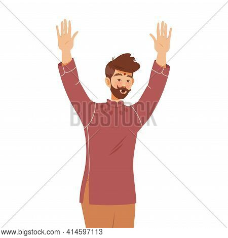 Moustached Man Raising His Hands Up And Shouting Supporting Street Protest Against Human Rights Viol