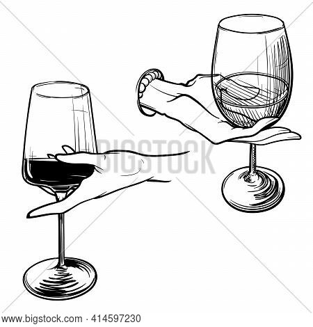 Woman Hands Holding Wine Glasses. Illustration Of Incorrect Way Of Holding Wine Glass. Black Linear