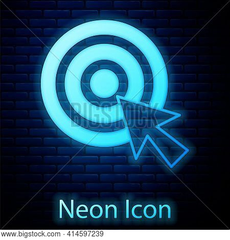 Glowing Neon Target With Arrow Icon Isolated On Brick Wall Background. Dart Board Sign. Archery Boar