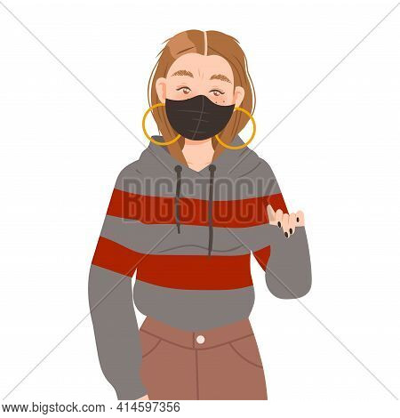 Young Woman In Face Mask Supporting Street Protest Against Human Rights Violation Vector Illustratio