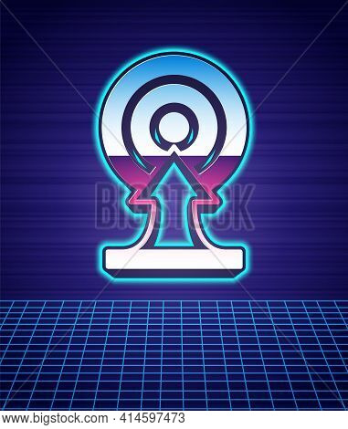 Retro Style Target With Arrow Icon Isolated Futuristic Landscape Background. Dart Board Sign. Archer
