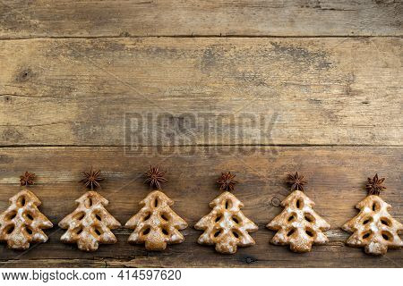 Christmas Cookies In The Shape Of A Christmas Tree. New Year's Food. Anise Star. Festive Baked Goods
