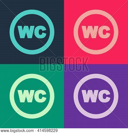 Pop Art Toilet Icon Isolated On Color Background. Wc Sign. Washroom. Vector