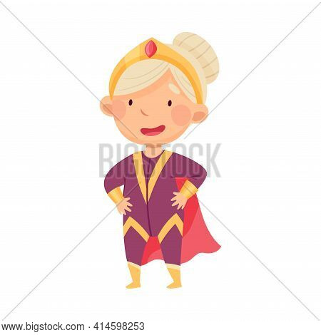 Little Girl Wearing Costume Of Superhero Pretending Having Power For Fighting Crime Vector Illustrat