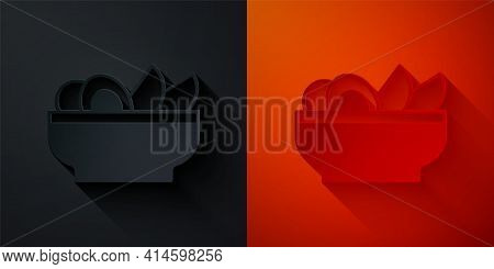 Paper Cut Nachos In Plate Icon Isolated On Black And Red Background. Tortilla Chips Or Nachos Tortil