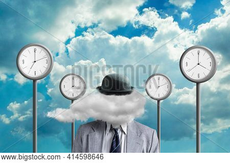Businessman With A Cloud Instead Of A Head. Street Clock, And Clouds On The Background. Creative Thi
