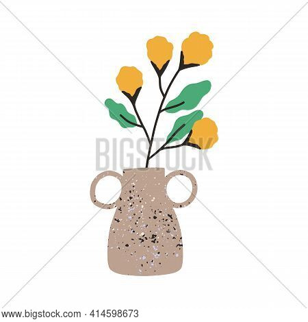 Fresh Flowers In Trendy Vase. Cut Floral Branch With Bright Blooming Buds And Leaves. Colored Flat V