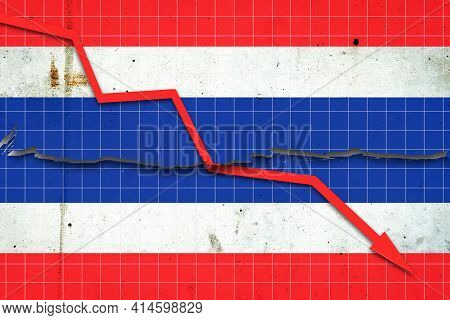 Fall Of The Thailand Economy. Recession Graph With A Red Arrow On The Thailand Flag. Economic Declin