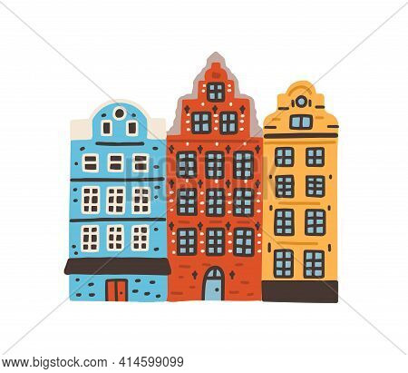 Famous Colorful Houses On Stortorget Or Grand Square In Stockholm, Sweden. Notable Swedish Building.
