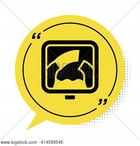 Black Drawbridge Ahead Icon Isolated On White Background. Information Road Sign. Yellow Speech Bubbl