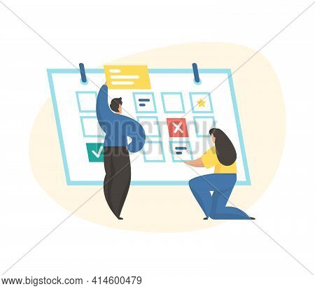 Business Planning, Time Management, Timetable. Male And Female Cartoon Characters Planning Work. Pla