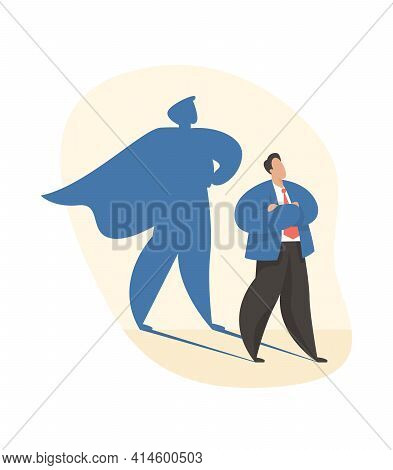 Male Cartoon Character With Big Superhero Shadow. Lead Manager. Ambition And Success. Flat Vector Il