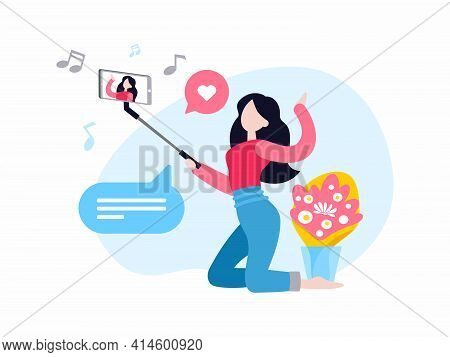 Vlogger Shooting Video. Female Cartoon Character Video Blogger Holding Smartphone On Selfie Stick An