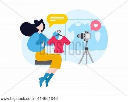 Fashion Blogger Showing Clothes With Video Live Streaming. Female Cartoon Character Making Clothes R