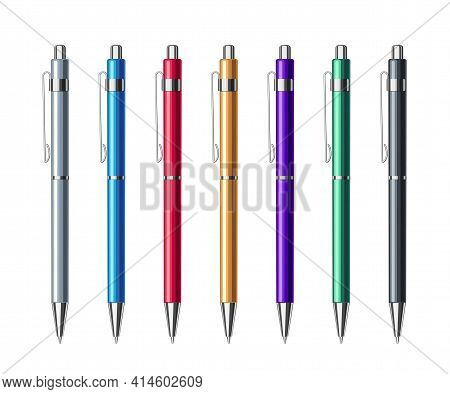 Set Of Different Colored Automatic Spring Ballpoint Pens In Metallic Case. School Or Office Tools Co