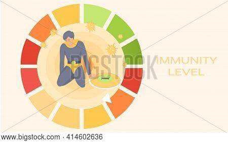 Power Of Imunity To Fight Diseases. Battle Loser Superhero As Symbol Of Human Health Defender