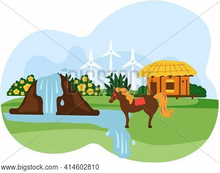 Horse Walks On Background Of House And Waterfall. Farm Animal In Village Landscape, Farmhouse