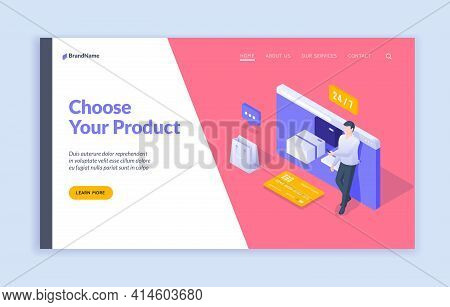 Choose Your Product Landing Page Banner Template. Vector Isometric Illustration Of Modern Man Using
