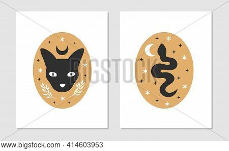 Celestial Animal Vector Illustration Set. Mystical Snake, Moon Cat. Hand Drawn Esoteric Concept With