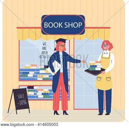 Woman Shows And Sells Books In Bookstore. Buyer Student Stands With Notebook And Looks At Library