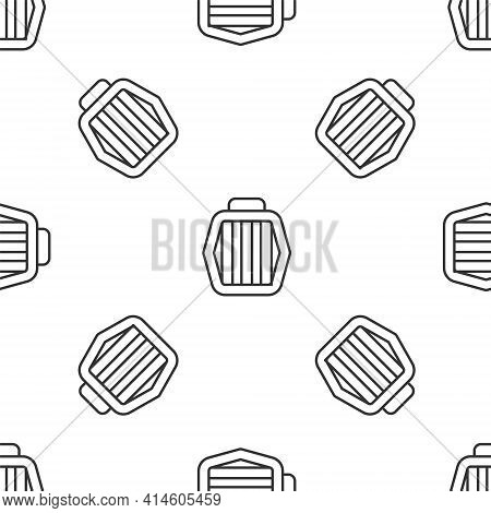 Grey Line Pet Carry Case Icon Isolated Seamless Pattern On White Background. Carrier For Animals, Do