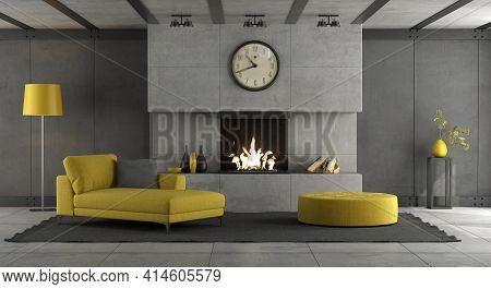 Living Room With Concrete Wall ,fireplace And Yellow Furnishings - 3d Rendering
