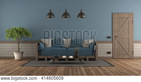 Retro Style Room With Front Door , Wooden Sofa With Blue And Gray Cushions - 3d Rendering
