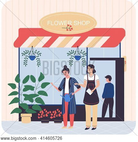 Flower Shop Showcase And Florists. Floral Market Family Business, Houseplant In Pots In Market