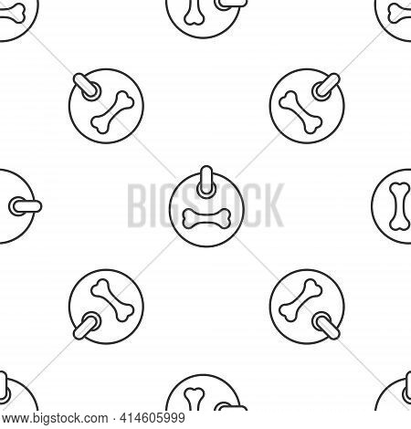 Grey Line Dog Collar With Name Tag And Bone Plaque Icon Isolated Seamless Pattern On White Backgroun