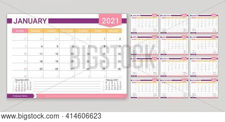 Calendar For 2021 Year. Planner, Calender Template. Week Starts Sunday. Vector. Yearly Stationery Or
