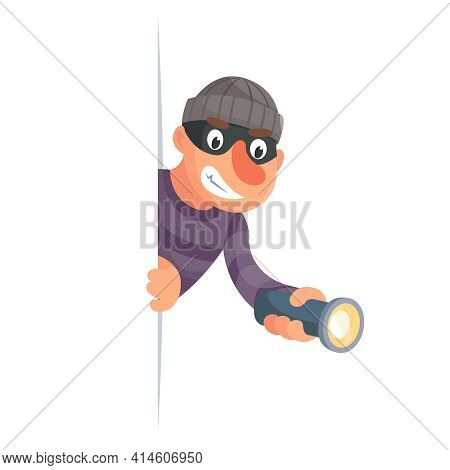 Evil Thief With Flashlight Peeping Out Of Cartoon Character Design Vector Illustration